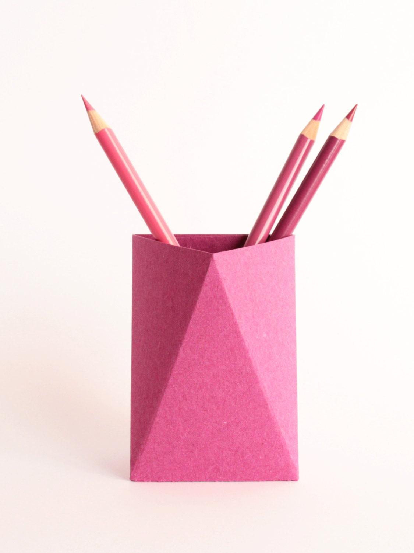 3box origami paper box desk pen holder by kingkongdesignshop - Origami desk organizer ...