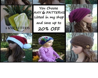 Design Your Own Discount Pattern Package, Save up to 20% OFF your patterns, You CHOOSE ANY 6 Patterns Listed In My Shop