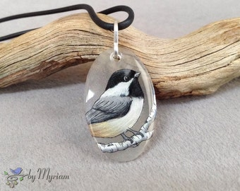 Chickadee pendant with sterling bail , hand-drawn chickadee on clear background , black-capped chickadee pendant , chickadee necklace
