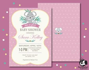 Koala Bear Girl Baby Shower Personalized Printable Invitation   Koala Girl Baby Shower Invitation   Koala Shower   Party Safari By Candace