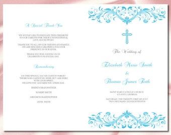 Catholic wedding program template red elegant cross trifold catholic wedding program template diy malibu blue booklet programs printable church order of service pronofoot35fo Gallery