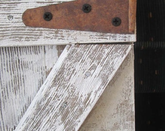 Mini barn door rustic shutters