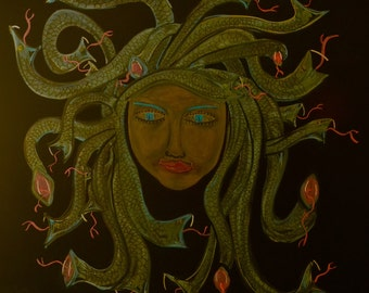 Medusa done in colored chalk