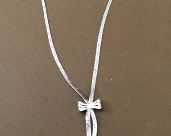 Sterling Silver Herringbone Necklace With A Bow