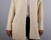 Vintage wool jacket off white cream color 1980 80s oversized boxy fit blazer mock neck medium large