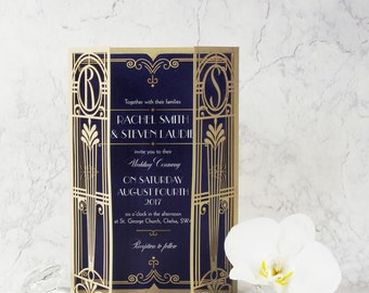 Golden Lasercut Gate, Art Deco, Great Gatsby Personalized Gatefold Wedding Invitation with Custom Monogram & Envelope, Gold, Die Cut