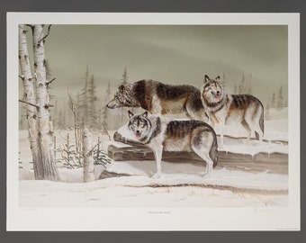 """1993 Lynn Morgan """"Three On The Prowl"""" 61/500 Wolf Lithograph Poster Signed Print Original Vintage Poster 25 x 18.5"""
