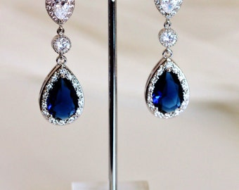 Sapphire Blue Wedding Jewelry Bridal Earrings Something Blue Wedding Earrings Long Bridal Earrings Bridal Jewelry Teardrop Blue Earrings