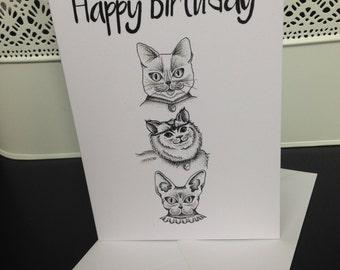 Birthday Cats Greetings Card - Blank Inside