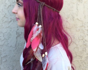 Feather Headband - Feather Hairpiece - Cream Brown Red Feathers - Festival Headband - Hippie Headband - Bohemian - Costumes