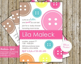 Cute as a Button Baby Shower Invitation Button Baby Shower Invite Cute as a Button Invitation Girl Digital Printable