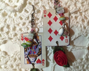 Beaded Playing Card Earrings