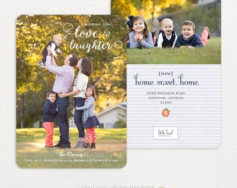 Photo moving announcement- Personalized holiday cards- photo christmas cards- rounded edges