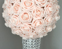 PINK BLUSH Kissing Ball. Wedding Centerpiece. BLUSH Flower Ball. Pomander. Wedding Decor. Flower Girl.
