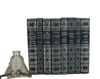 Vintage Books for Interior Design and Home Decor, Black Decorative Books, Book League of America,