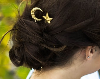 crescent moon & star hair clips paisley moon hair pins star hair pins gold moon hair barrette celestial hair accessory moon and star