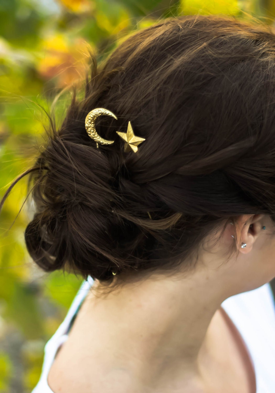 crescent moon & star hair clips paisley moon hair pins star
