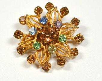 Vintage Rhinestone Brooch Starburst Flower Design Multi-Colored Rhinestones Goldtone Flower Pin Brooch Prong Set Rhinestone Pin