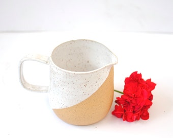 Handmade Ceramic Rustic White Pitcher