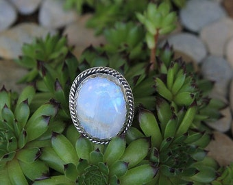 Moonstone Ring, Sterling Silver, Rainbow Moonstone, June Birthstone, Healing Crystal Ring, Silversmith jewelry