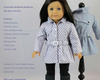 18 inch Doll Clothes Pattern,  Stormy Weather Trench PDF Pattern for 18 inch Dolls such as American Girl®