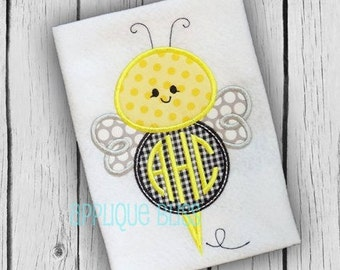 Monogram Bumble Bee Applique Design - Picnic - Summer - Applique Design - BBQ - Insect - Vacation