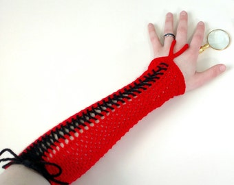 Red Corset Gloves - Vampire Costumes - Blood Elf Cosplay Gloves - Victorian Gloves - Goth Gloves - Fantasy Clothing - Geeky Gifts for Her