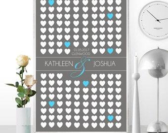DIGITAL // Custom Wedding Guest Book Alternative 20x30 Large Sign w 155 Hearts Keepsake // #1552016GBC