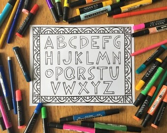 Printable Coloring Page - Alphabet/Letter Coloring/Pattern Coloring/Nursery Art/Coloring Page Download