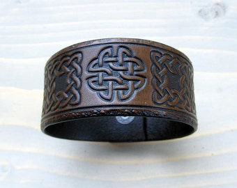Mens Leather Cuff Celtic Medieval Celtic Knot Genuine Hand Tooled Leather Cuff Custom Leather Bracelet Dark Brown Leather Celtic Cuff
