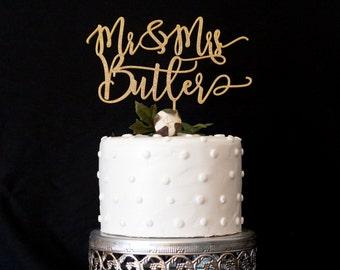 Custom Modern Calligraphy Mr and Mrs Wedding Cake Topper
