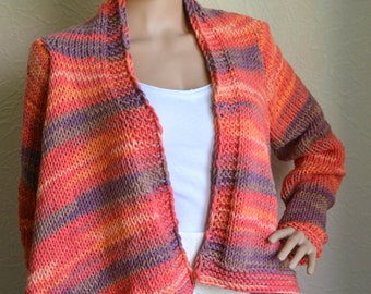 Hand knitted women's cardigan