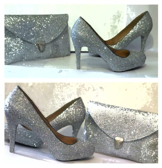 Women's Choose COLOR sparkly glitter high & low heels matching clutch purse stiletto pumps shoes wedding prom bride Silver white Ivory blue