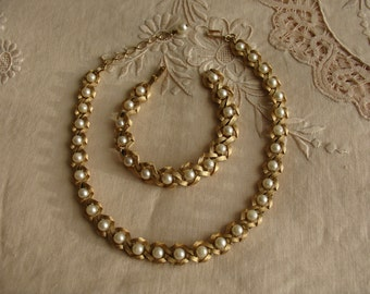 CROWN TRIFARI Gold Tone and Faux Pearls Demi Set in Infinity Loops, Necklace & Bracelet