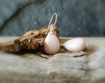 Peruvian Opal Earrings, AAA Peruvian Pink Opal Drops and Sterling Silver, Andean Opal Jewelry, Baby Pink Earrings, October Birthstone