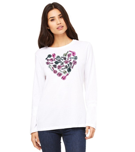 items similar to hand painted tshirt t shirt heart tee original love folk gift for her lady fit. Black Bedroom Furniture Sets. Home Design Ideas