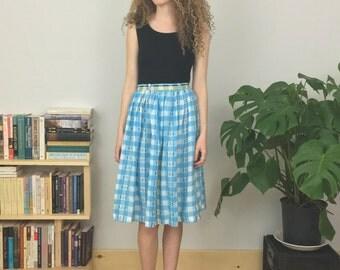 final sale! sky blue 60s gingham skirt (xs/s)