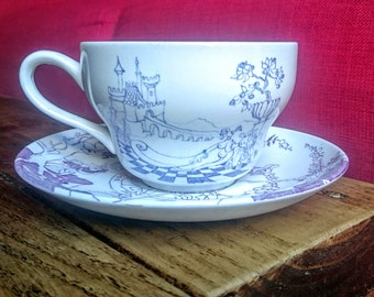 """Vintage WEDGWOOD """"Marianne"""" by Louis Rosen Schmidt for Irma Denmark 1976 Purple White Oversized Cup and Saucer Duo"""