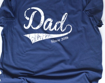 Dad Since 2016 T-Shirt.  New Father gift.  New Dad Gift Baby Shower Gift. 1st Father's Day gift. Gift for a New Father.