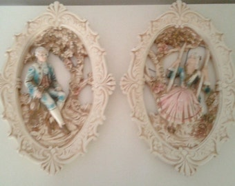 Vintage 1962 Jayess United Chicago Chalkware White Gold Pastel Baroque Man Woman Pair Wall Hangings Décor Mid Century