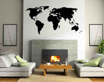 World Map Large, World Map Decal, Map Decor, World Map Kids Room, Map Decal, Home Decor, Vinyl Wall Decal, World Map, Boho Wall Decal, Boho
