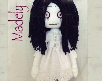 MADELY OOAK Ragdoll 18'' Gothic Funky Tattered Soft art doll handstitched Collection Signed Numbered
