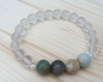 Amazonite & Frosted Clear Stacker