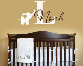 Name Wall Decal - Elephant Wall Decal - Elephants Baby Boy Room Decor - Nursery Wall Decals Vinyl-Decals Nursery-Boys Decals