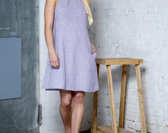 SALE, Lavender halter dress, Organic hemp, Summer Dress, Party Dress, Womens clothing, Purple dress, 60s dress, Hemp clothing