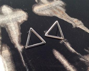 Triangle Earrings, Silver Triangle Studs, Small Post Earrings, Minimalist Pyramid studs