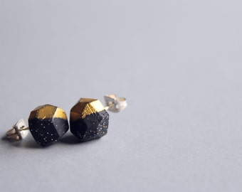 Black + Gold Sparkle + Gold Dipped Geo Earrings / Modern Matte Black Studs / Geometric Earrings