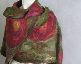 Felted Scarf, Felt Shawl, Nuno Scarf, Floral Scarf, Silk Scarf, Floral Silk Scarf, Wool wrap, Wool Scarf, Extra Long Scarf, Spring Scarf