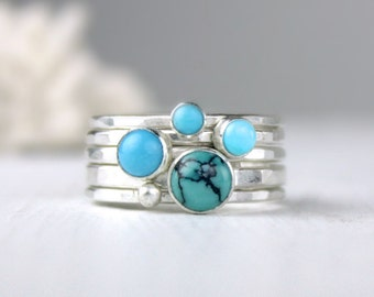Turquoise and Silver Stacking Rings, Hammered Stackable Rings, Turquoise Jewelry