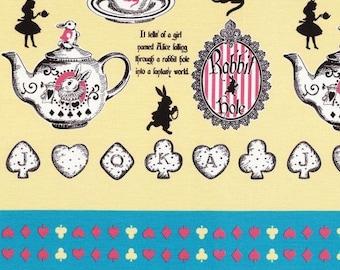 Judie's Cotton 2015 Alice in Wonderland - Alice Panel Tea L37-50 yellow, Lecien of Japan, 1 yard